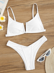 V-cut Top With High-cut Bikini Set