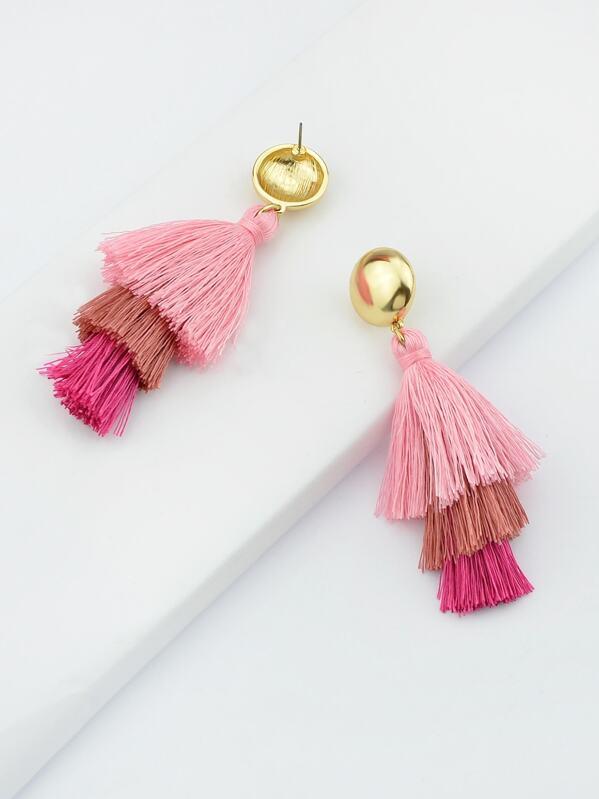 Bohemian Erklärung Ohrringe Quaste Style Pink Ethnische HWYeD29IEb