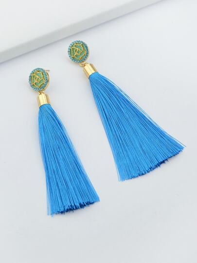 Lakeblue Ethnic Jewelry Flower Decoration Long Tassel Drop Earrings