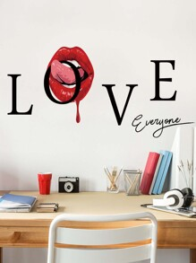 Letter & Lip Print Wall Sticker