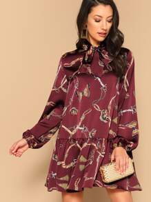 Tie Neck Chain Print Drop Waist Satin Dress