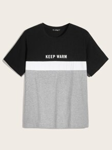 Men Colorblock Letter Print Tee