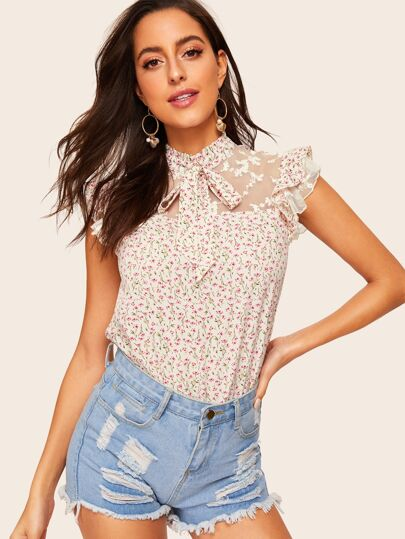 5203d8ee01a1c4 Ditsy Floral Tie Neck Embroidered Mesh Yoke Top