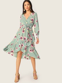 Ruffle Trim Wrap Front Belted Floral Dress