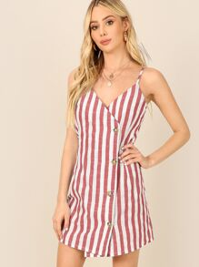 Asymmetric Buttoned Placket Striped Cami Dress