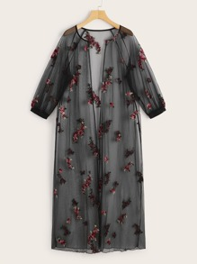 Floral Embroidered Raglan Sleeve Sheer Mesh Kimono