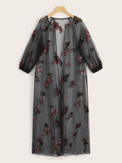 3137adaf3 Floral Embroidered Raglan Sleeve Sheer Mesh Kimono