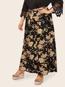 Plus Allover Floral Print Self Belted Palazzo Pants