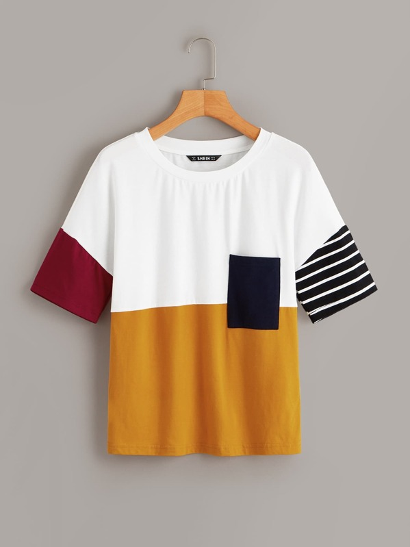 Pocket Front Colorblock Tee by Shein