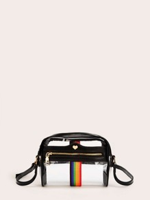 Rainbow Detail Transparent Crossbody Bag