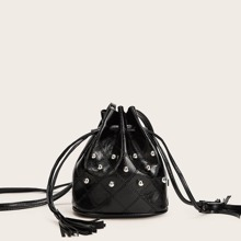 Studded Detail Drawstring Crossbody Bag