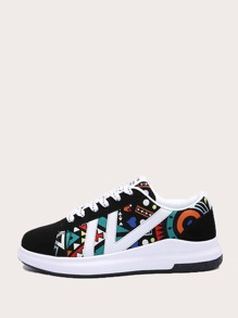 Abstract Print Lace-up Front Sneakers