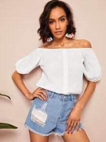 Off Shoulder Single Breasted Top