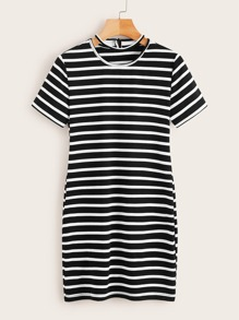 Striped Cut Out Neck Dress