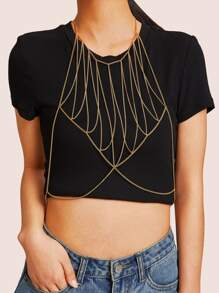 Bralette Body Chain With Choker 1pc