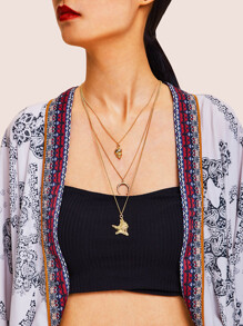 Starfish & Moon Pendant Layered Chain Necklace 1pc