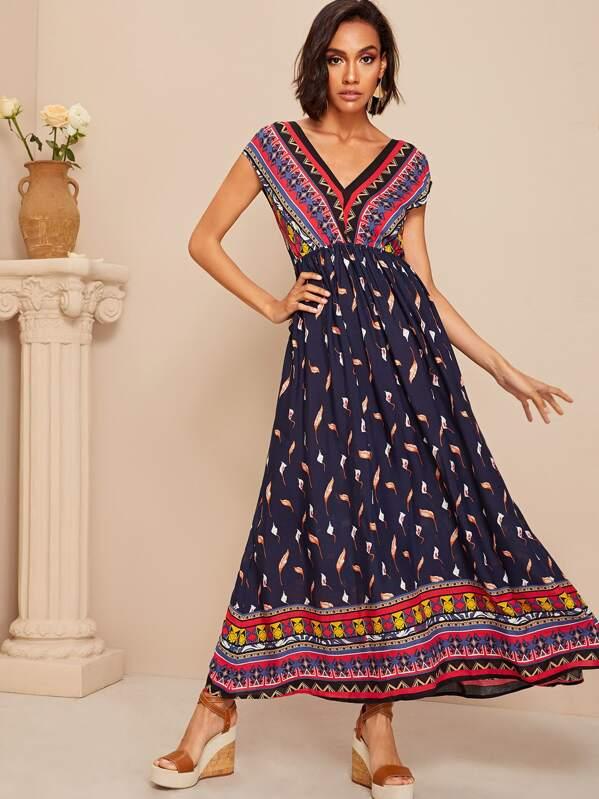 ba831be26af3 Tribal Print High Waist Flowy Maxi Dress   SHEIN