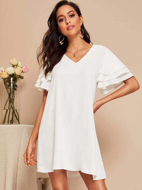 fafc236139 Solid V Neck Layered Sleeve Tunic Dress | SHEIN