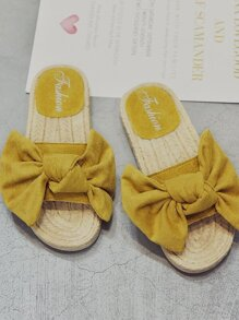 Bow Decor Suede Espadrille Sliders