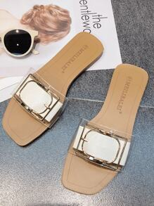 Open Toe Buckle Decor Sliders