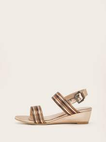 Buckle Strap Slingback Wedges
