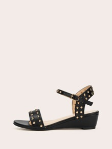 Studded Decor Two Part Wedges