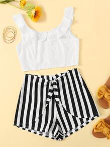 Ruffle Trim Top With Striped Knot Detail Shorts