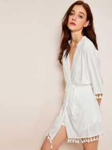 Fringe Trim Wrap Pajama Set