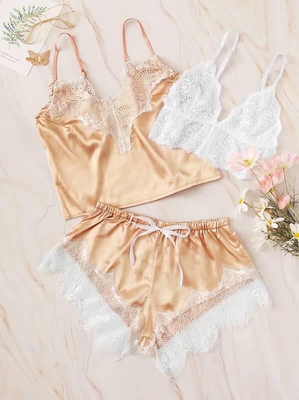 96189062a Floral Lace Satin Lingerie Set 3pack