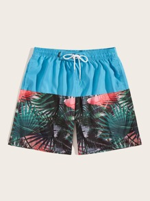 Men Tropical Print Knot Font Bermuda Shorts