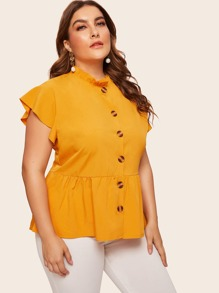 Plus Button Front Peplum Blouse
