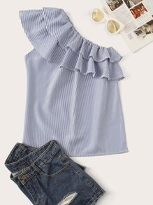 Plus One-shoulder Ruffle Trim Stripe Blouse