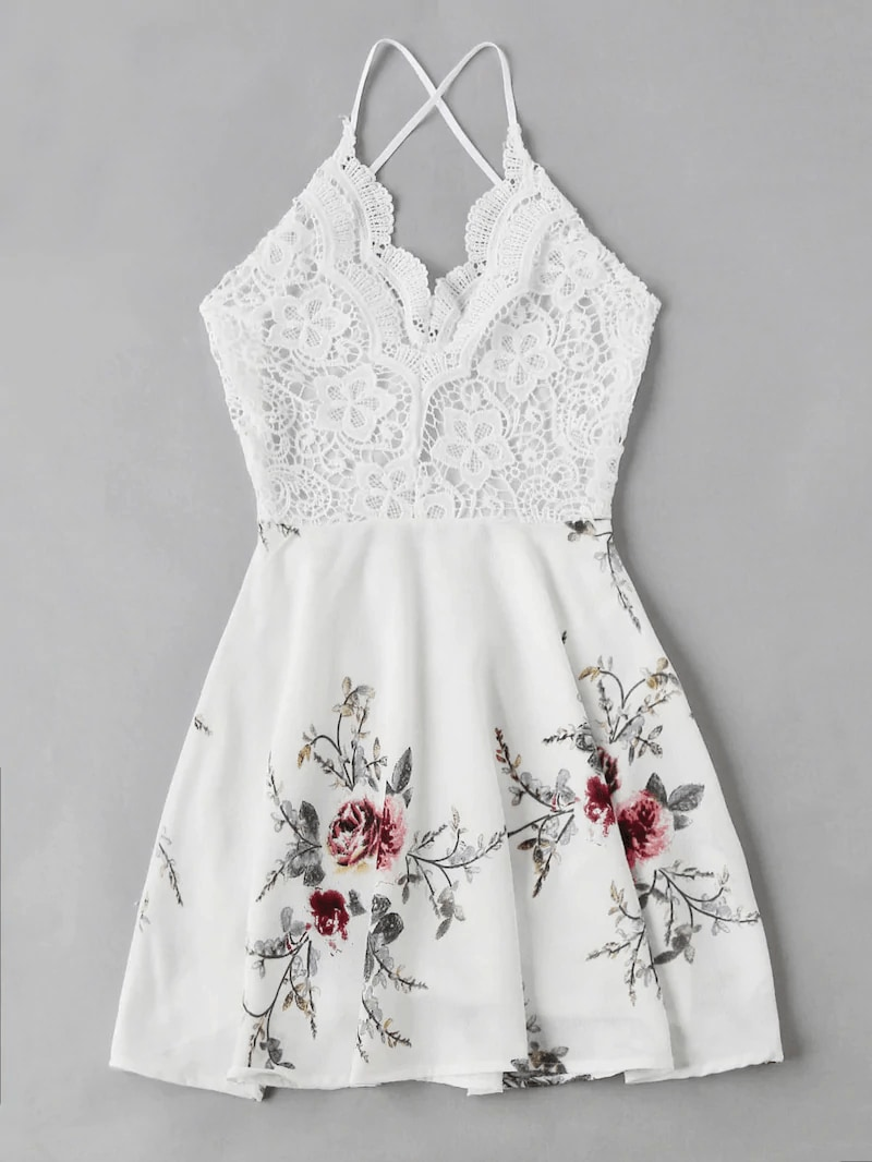 Plus Floral Print Open Back Dress