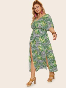 Plus Tropical Print Split Thigh Surplice Maxi Dress