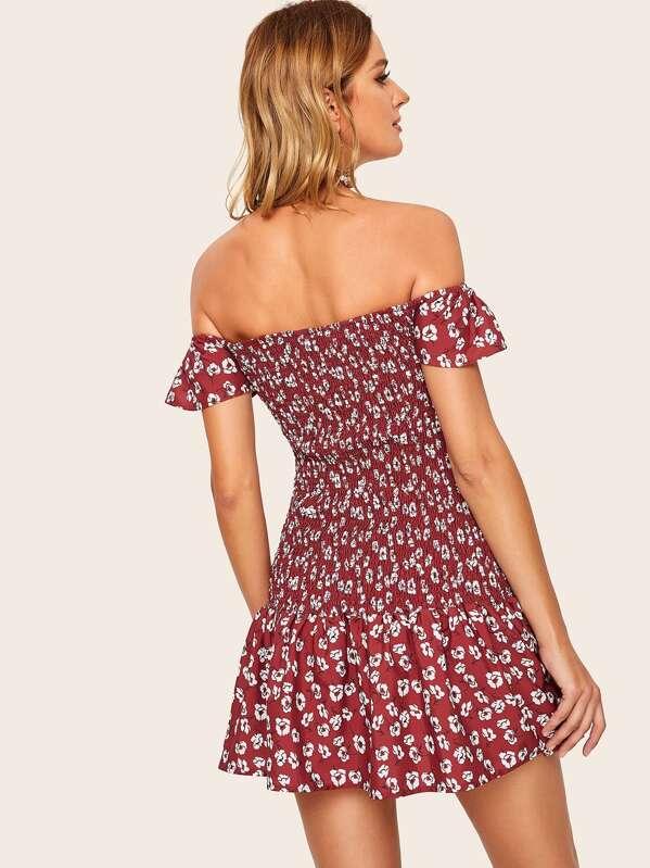 094863f7034 Off-shoulder Ditsy Floral Shirred Dress