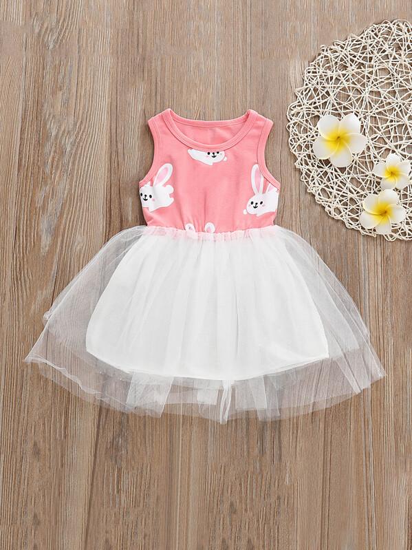 f701495c40 Toddler Girls Rabbit Tutu Tank Dress