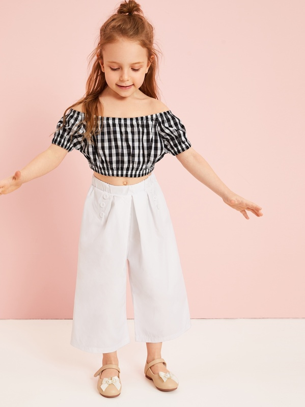 808d7d823 Toddler Girls Plaid Crop Top With Pants | SHEIN