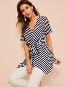 Striped Asymmetrical Hem Belted Blouse