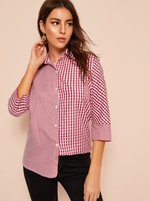 Gingham Print Trim Button Front Blouse