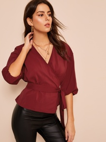 Belted Bishop Sleeve Wrap Blouse