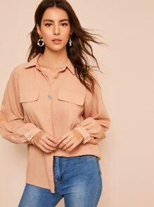 Plain Trim Button Front Blouse