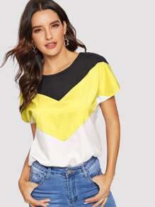 Chevron Color-block Blouse