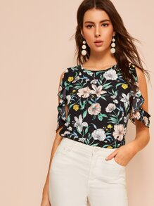 Floral Print Cold Shoulder Blouse