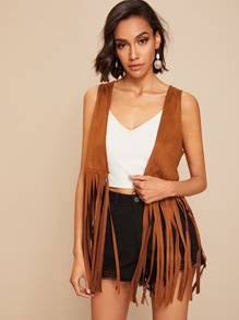Solid Fringe Detail Suede Jacket