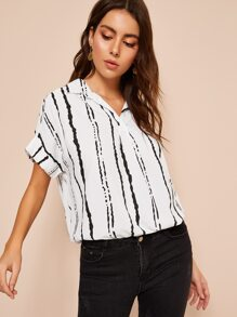 Striped Cuffed Hem Blouse