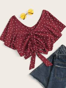 Polka Dot Drawstring Hem Blouse
