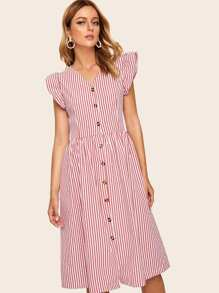 Contrast Ruffle Cuff Button Front Striped Dress