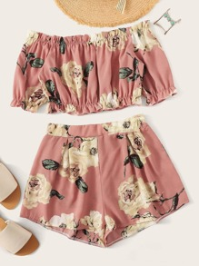 Off Shoulder Frill Floral Print Top With Shorts