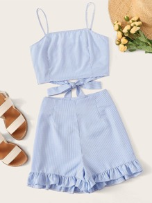 Knot Gingham Cami Top With Ruffle Hem Shorts
