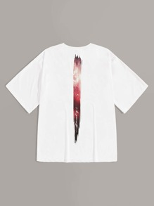 Guys Contrast Planet Print Tee